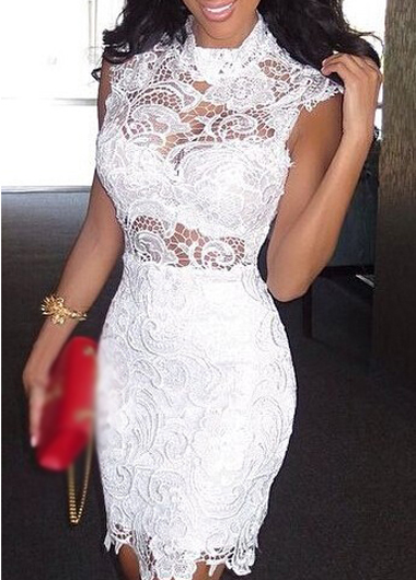 8f57cc0ee80 Sexy High Neck Crochet Lace White Sheath Dress on Luulla